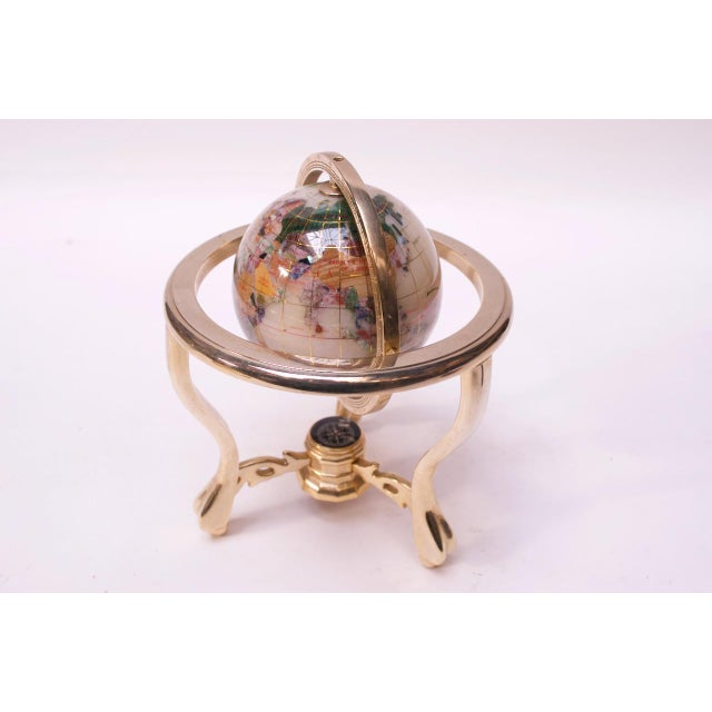 Contemporary Petite Desk Globe in Brass, Gemstones, and Mother of Pearl For Sale - Image 13 of 13