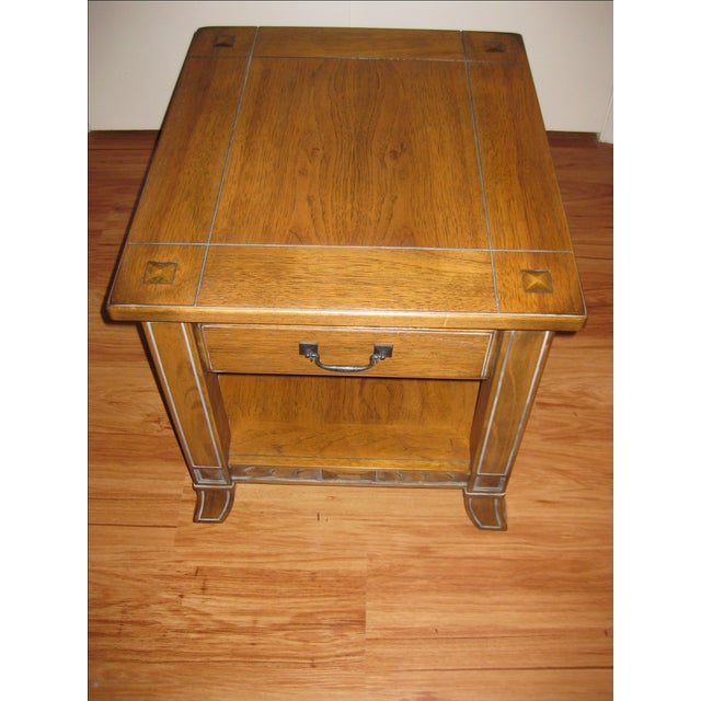 Wood Vintage Rustic Style End Table For Sale - Image 7 of 10