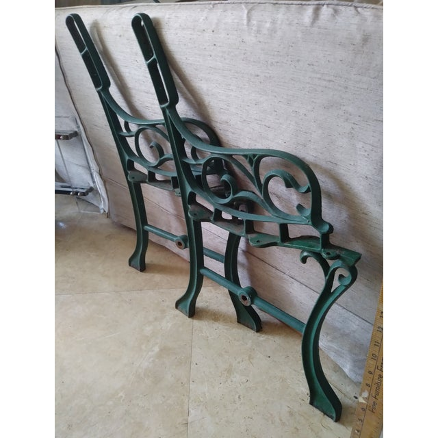 Mid 20th Century Vintage Iron Park Bench For Sale - Image 5 of 9