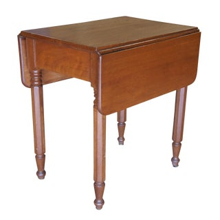 20th Century Early American Style Solid Maple Drop Leaf Side Accent Table For Sale