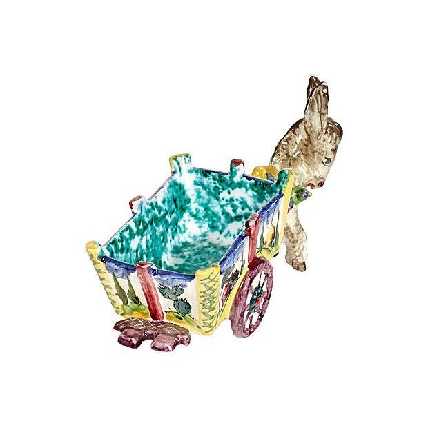 Whimsical 1960s Italian ceramic donkey with attached cart planter. Marked: Italy.