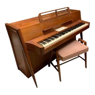 1960s Vintage Acrosonic Mid Century Modern Piano & Bench For Sale
