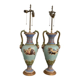 Antique Majolica Lamps- Pair For Sale