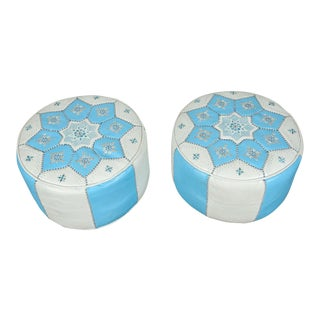 Moroccan Tiffany Blue and White Hand-Tooled Leather Poufs - a Pair For Sale