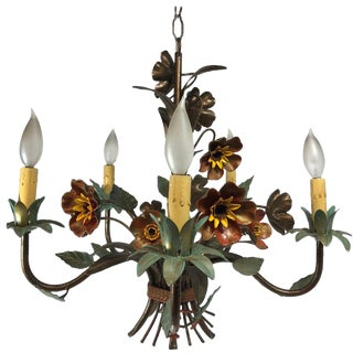 1950s Italian Tole Painted Floral Chandelier For Sale
