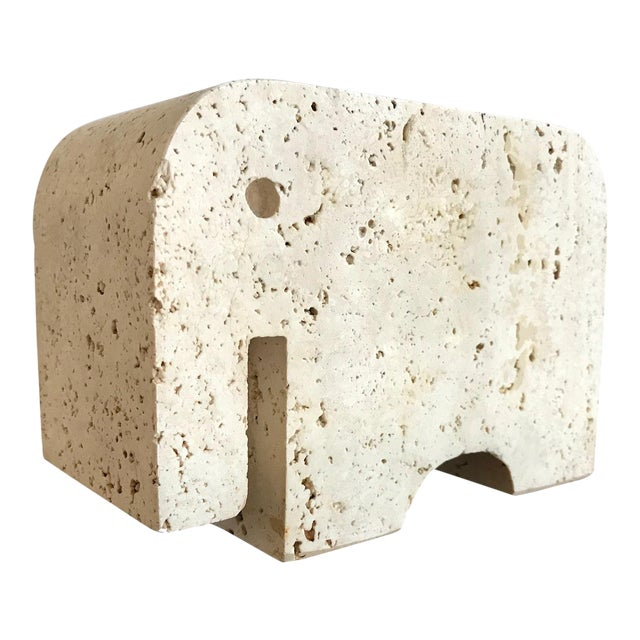 Fratelli Mannelli Travertine Elephant Bookend For Sale