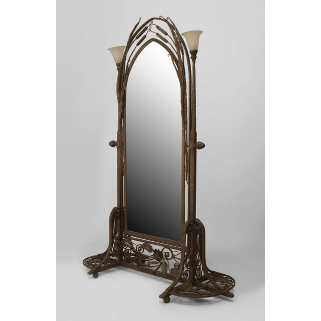 Glass French Art Deco Wrought Iron Cheval Mirror For Sale - Image 7 of 8