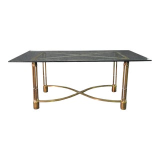 Solid Bronze Indoor Outdoor Glass Top Neoclassical Dining Center Table C1940 For Sale