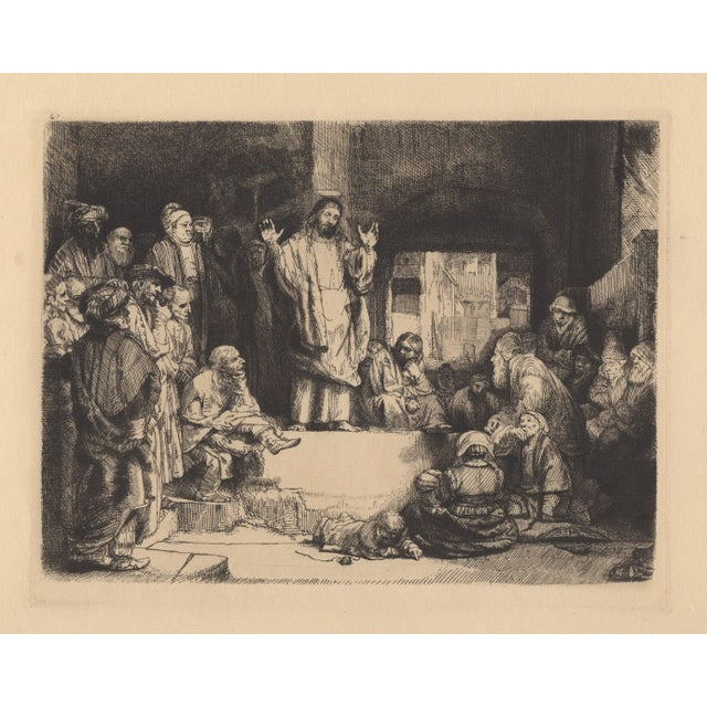 """Realism After Rembrandt 20th c. Christ Preaching """"La Petite Tomb"""" Heliogravure For Sale - Image 3 of 4"""