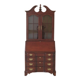 Chippendale Pennsylvania House Block Front Cherry Secretary Desk For Sale