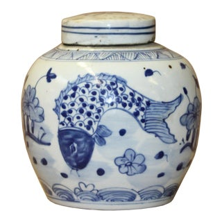 Chinese Blue White Porcelain Fishes Graphic Ginger Jar For Sale