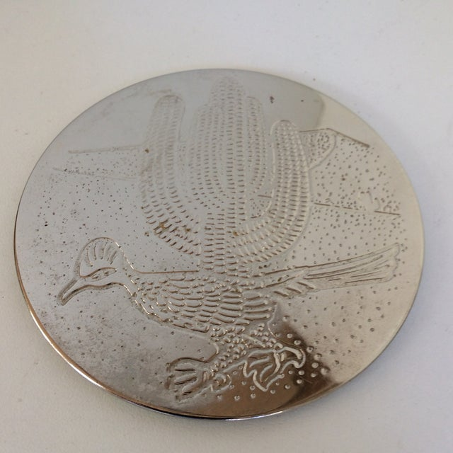 Vintage Southwest Style Silver Plated Roadrunner Drink Coasters in Holder- Set of 6 For Sale - Image 11 of 11