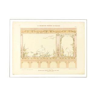 Consigned Art Nouveau Bathroom Mural Print, C. 1890 For Sale