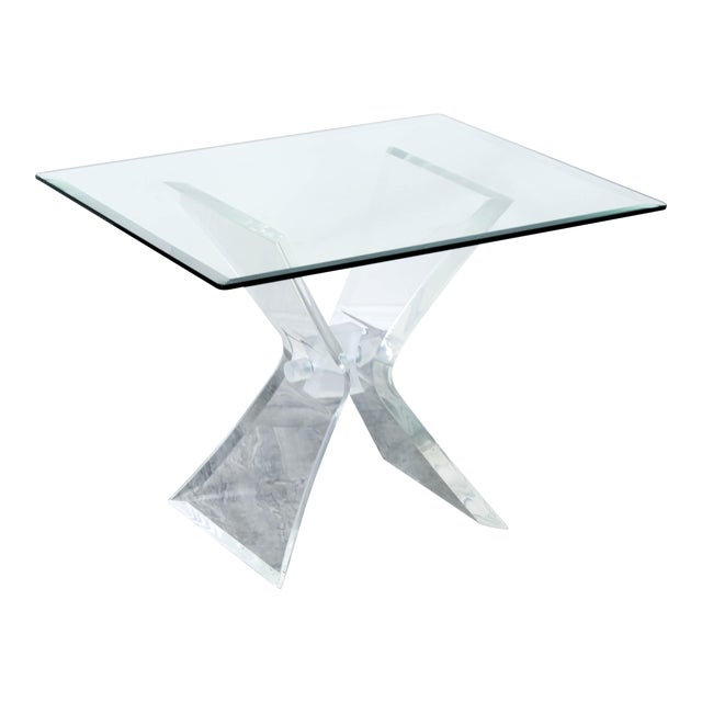 Lucite Butterfly X Base Side Table For Sale