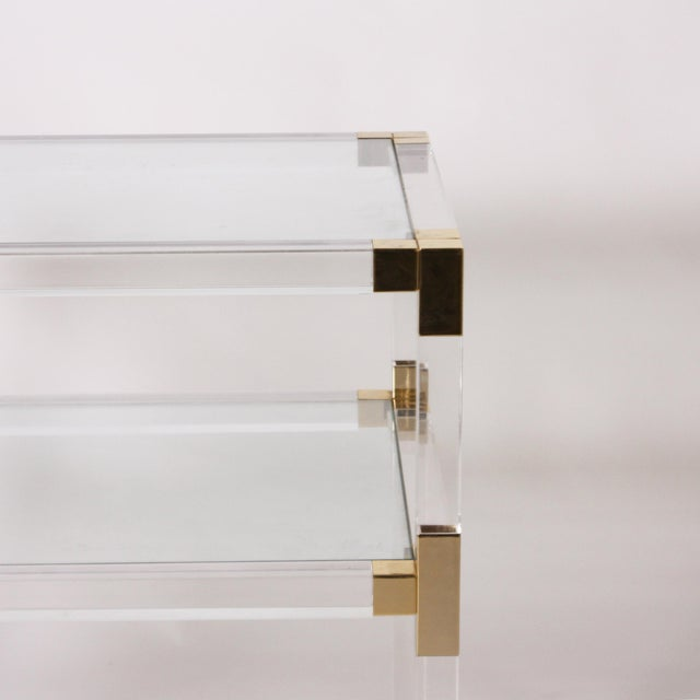 French Lucite, Glass & Brass 3 Tier Table C. 1970 For Sale - Image 4 of 6