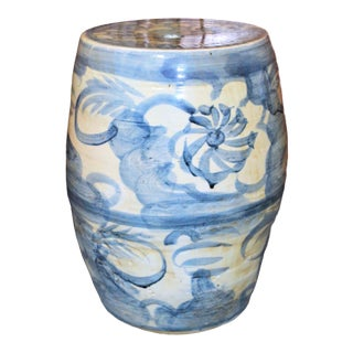Chinoiserie Blue and White Abstract Lotus Garden Stool For Sale