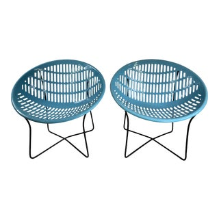 Mid Century Howard Johnson Hotel Blue Solar Lounge Chairs- a Pair For Sale