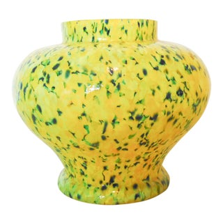 Modern Design Speckled Glass Bulbous Vase For Sale