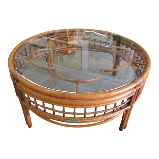 Round Island Style Bamboo Coffee Table For Sale