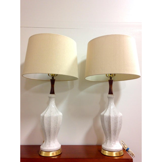 Metal White Ceramic Gold Flecked Table Lamps - a Pair For Sale - Image 7 of 8