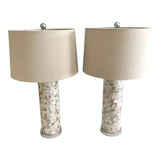 Mother of Pearl Tall Table Lamps - a Pair For Sale