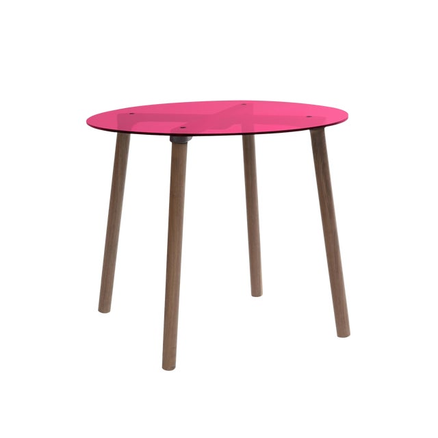 """Ac/Bc Large Round 30"""" Kids Table in Walnut With Pink Finish Acrylic Top For Sale"""