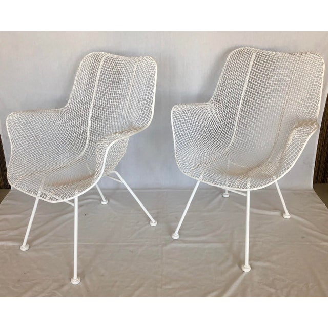 1960s Vintage White Sculptura Russell Woodard Patio Chairs- A Pair For Sale - Image 9 of 13