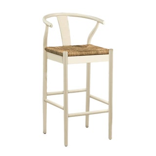 White Woven Oak Bar Stool For Sale