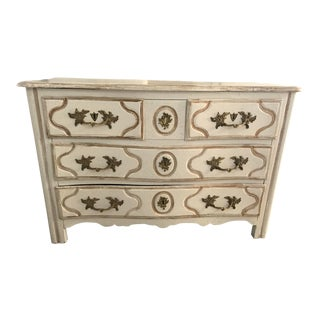 Pair of 18th/19th Century French Louis XIV White Painted Pair of Commodes For Sale