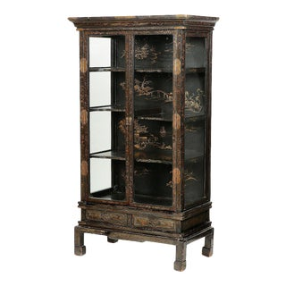 Chinoiserie Black Lacquer Bookcase Display Cabinet For Sale