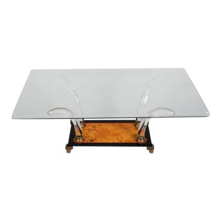 Mid Century Lucite and Burl Wood Cocktail Table Base For Sale
