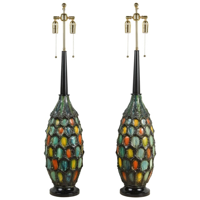 Orange Blue and Yellow Large Ceramic Lamps With a Lava Textured Glaze - a Pair For Sale