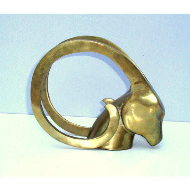 Hollywood Regency Brass Antelope Horns Sculpture - Image 2 of 8