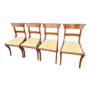 1960s Vintage Henkel Harris Black Cherry Wood Dining Chairs- Set of 4 For Sale