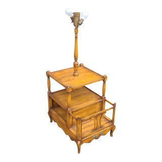 Great 1950s French Provincial Ruder New York Magazine Rack Lamp Table For Sale