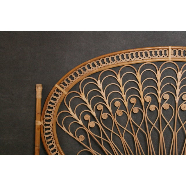 Boho Chic Wicker Peacock Headboard For Sale - Image 4 of 11