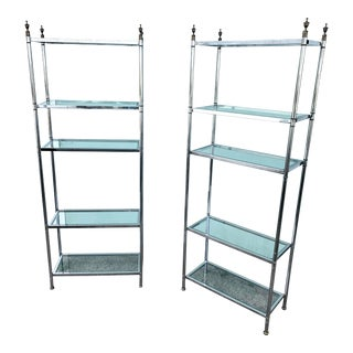 Maison Jansen Chrome and Brass Etageres - a Pair For Sale