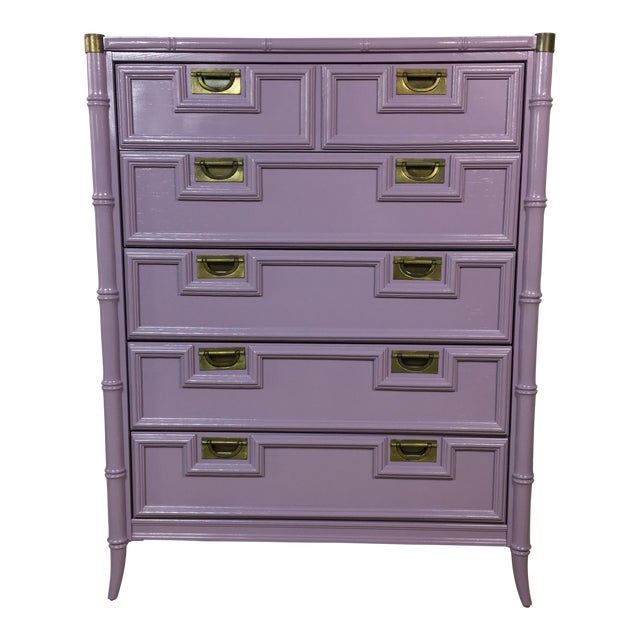 Stanley Lavender Lacquered Faux Bamboo Chest - Image 1 of 6
