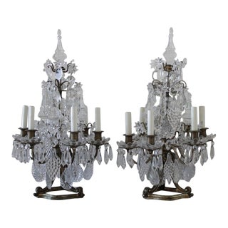19th Century Gilt Bronze and Crystal Candleabras - a Pair