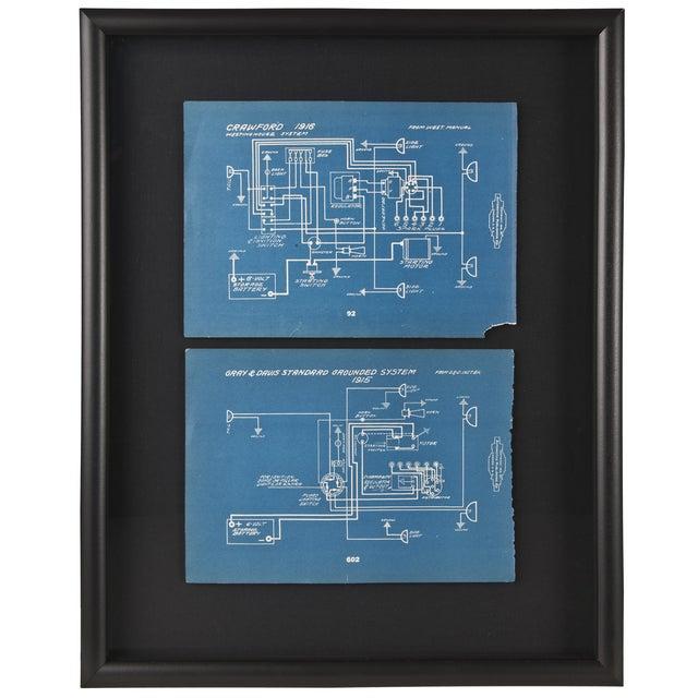 Framed Antique 1918 Mechanical Blueprints - Pair - Image 1 of 2