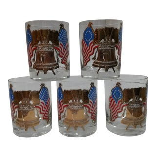 George Briard Liberty Bell Rocks Glasses - Set of 5 For Sale