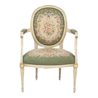 French Louis XVI Style Needle Point Accent Chair For Sale
