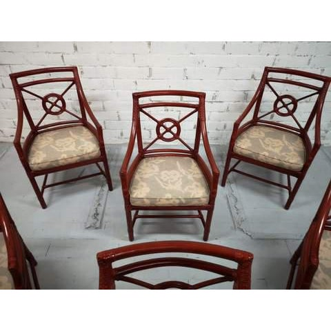Wood Set of 6 Italian Mid Century Red Bamboo Chippendale Lounge Dining Chairs For Sale - Image 7 of 13