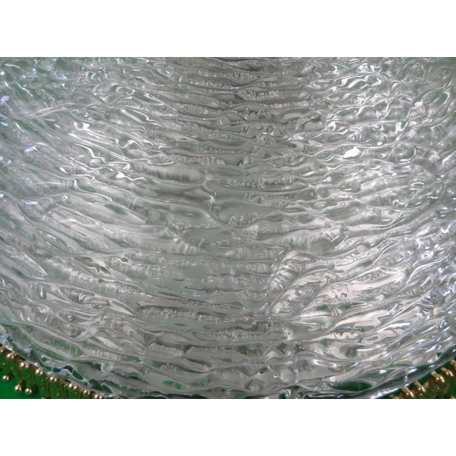 Mid-Century Modern Textured Clear Glass and Brass Fixture by Hillebrand or Kaiser (2 Available) For Sale - Image 3 of 5