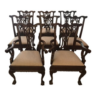 Chippendale Style, Hand Carved, Mahogany Wood Dining Chairs - Set of 8