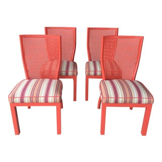1970s Vintage Cane Back Coral Chairs- Set of 4 For Sale