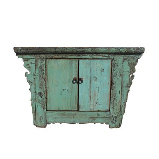 Chinese Rustic Wood Distressed Turquoise Green Side Table Cabinet For Sale