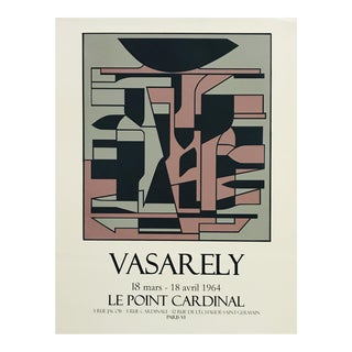 1960s Victor Vasarely Le Point Cardinal Op Art Serigraph Print Poster For Sale