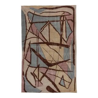 1950s Vintage Art Deco Rug-5′3″ × 8′4″ For Sale