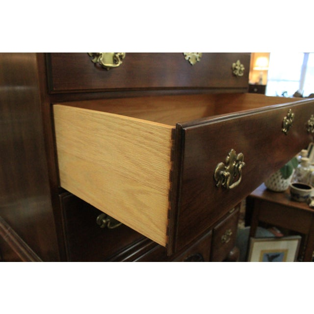 1980s Late 20th Century Queen Anne Style Cherry Highboy For Sale - Image 5 of 10
